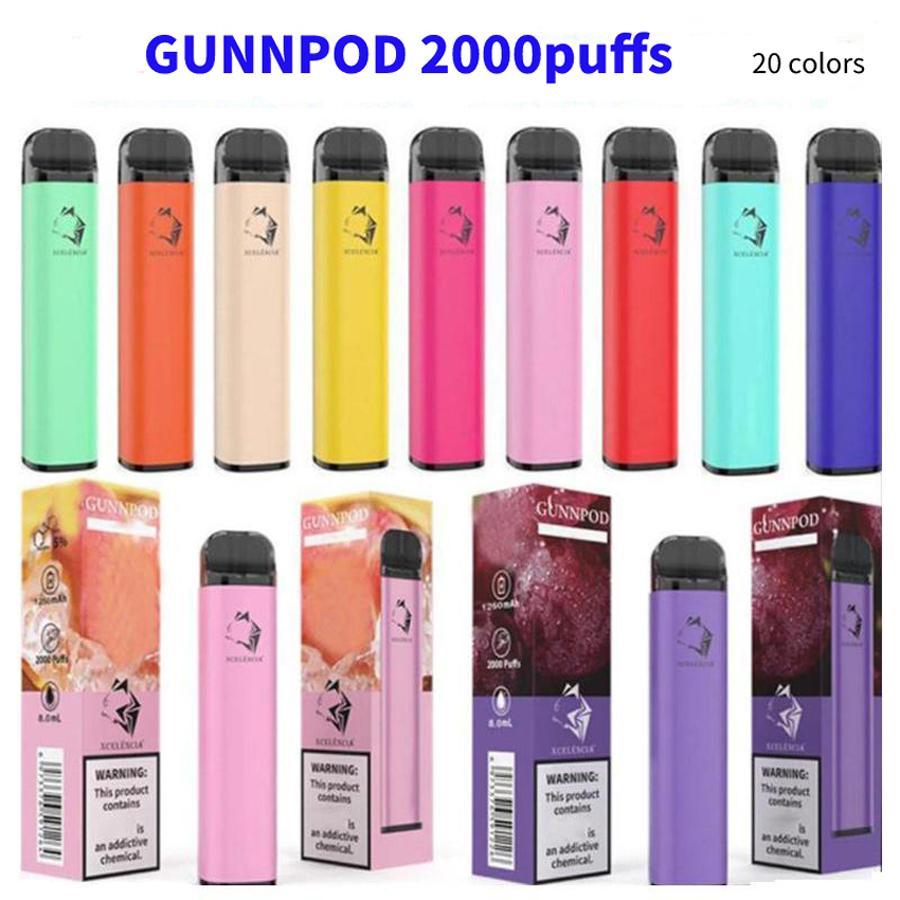 En Kaliteli Gunnpod Tek Kullanımlık Pod Cihazı Kiti E-Sigaralar 2000 Puffs 1250 mAh Pil 8 ML Tedarik Kartuş Vape Sopa Kalem VS Iget Bang XXL Plus Air Bar Max