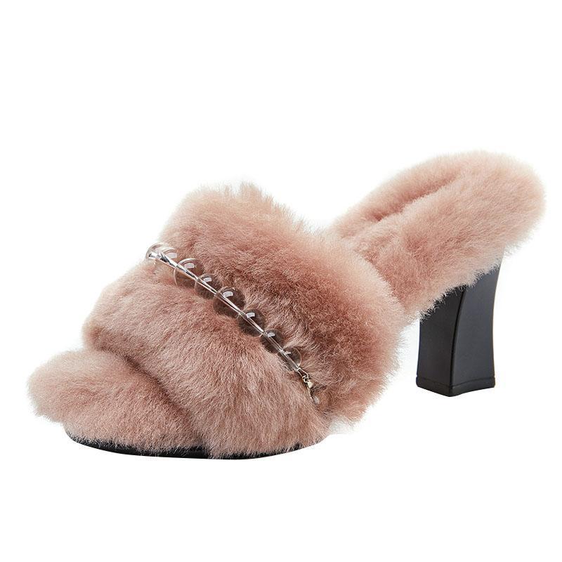 Hausschuhe Olome Womens Real Lammwolke Pelz Pelz High Heel Warme Winter Maultier Slipper Plüschfolien Schuhe dicke 6farben