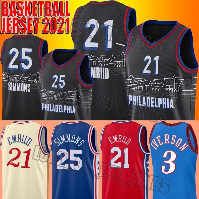 Whopfback Allen 3 Iverson Jersey Joel 21 Embiid Jersey Ben 25 Simmons Jerseys genäht Basketball City Trikots
