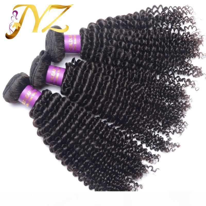 Goldleaf Mongolian Kinky Capelli vergini ricci 3 pezzi lotto 100% brasiliano capelli umani tessitura kinky ricci peruvisan estensioni dei capelli malesi