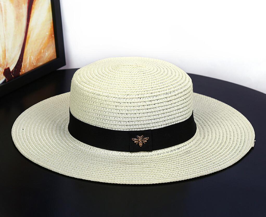 New Fashion Female Summer Outing Beach Hat Sunscreen Sun Flat Top British Small Clean