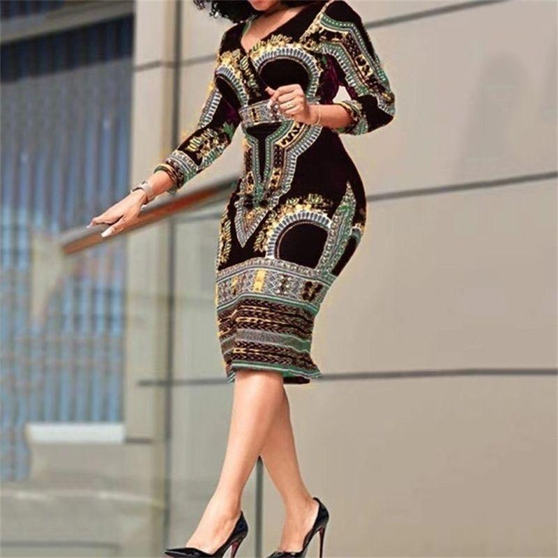Senhoras Africanas Vestidos Elegante Pulso Cintura Alta V Vintage Para O Escritório De Trabalho Negócio Moda Slim Vestidos Vestido Midi 2021 210316