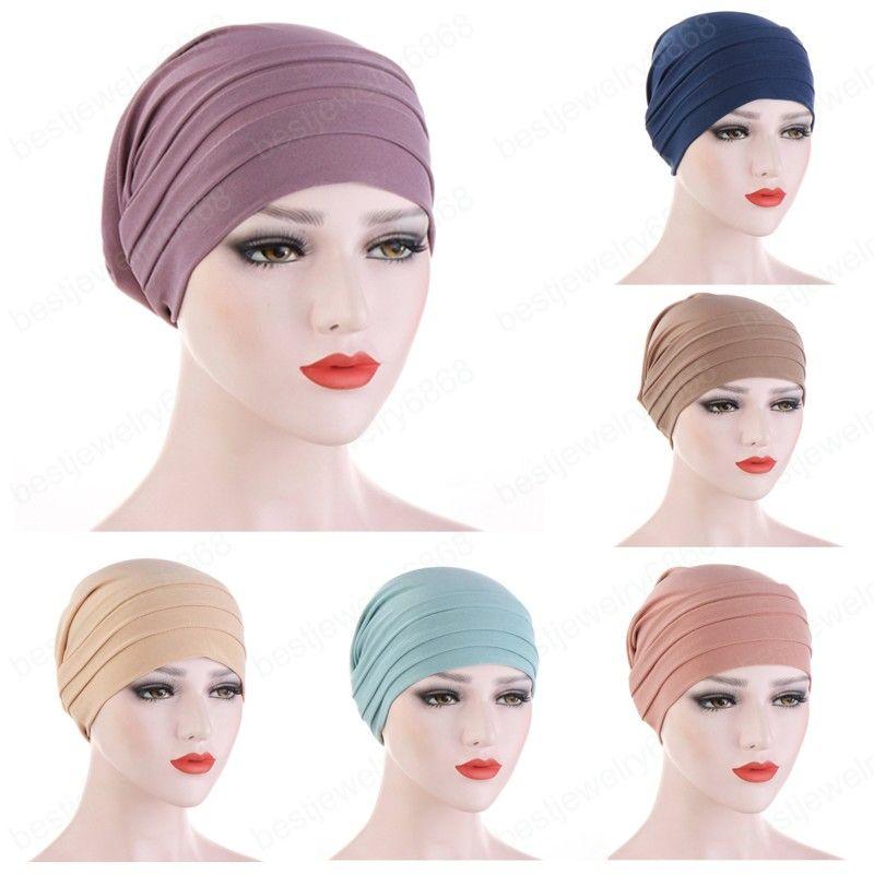 Kadınlar Sıkı Türban Şapka Kafa Wrap Pamuk Başörtüsü Cap Katı Yumuşak Başörtüsü Yeni Moda Kadınlar Için Müslüman Eşarp Müslüman Türban