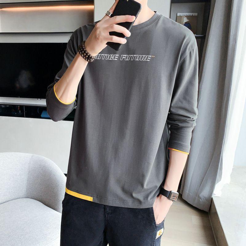2021 Bahar Yeni Kore Uzun Kollu Yuvarlak Boyun Casual erkek Trend Gevşek Üst Baz Gömlek Trendy T-Shirt