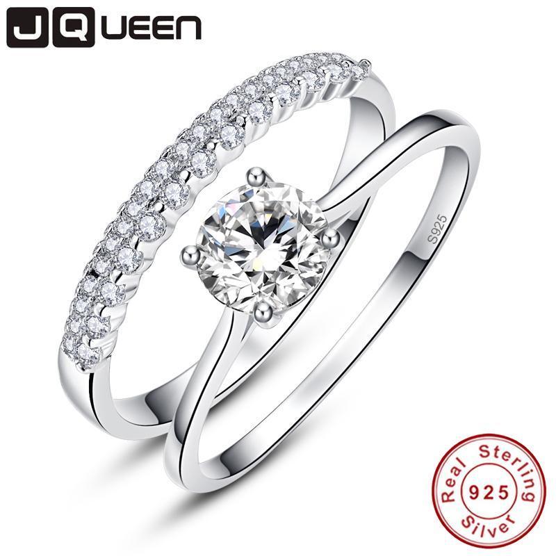 Кластерные кольца 0,9 круглого вырезанного кольца набор твердого 925 стерлингового серебряного серебра 2 шт. Обручальные свадьбы свадебные украшения с коробкой