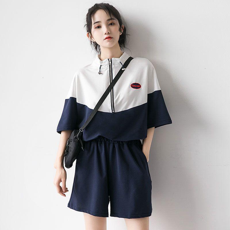 2021 Высочайшее качество Пэчворк 2 шт. Joggers набор женщин трексуит лето плюс размер костюм шорты футболки спортивная одежда мода футболка до 1 кфл