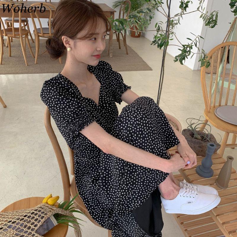 Woherb Femmes Robe Mode Coréenne Nouveaux Vêtements Vintage Collier Square Collier à lacets Vestine Slim Fit Imprimer Robes à manches Lanterne 92609 210224