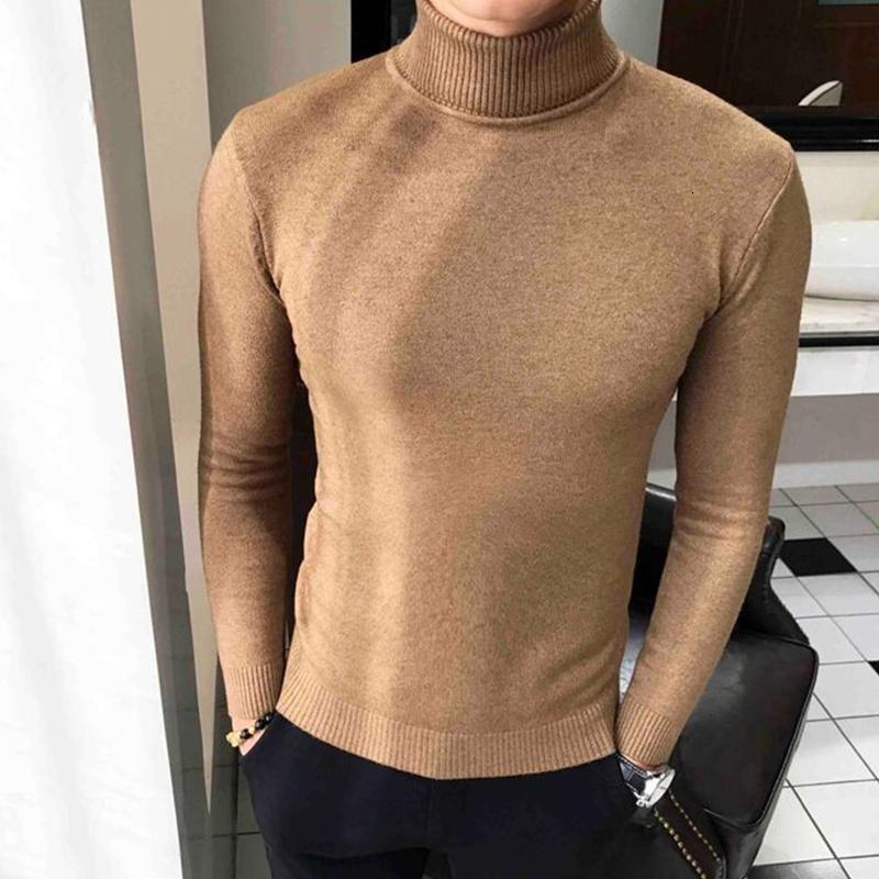 2020 inverno pescoço alto grosso suéter quente gola de tartleneck mens suéteres magro fit pullover homens knitwear masculino duplo colar