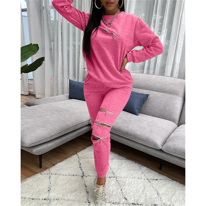 Chaopai Lounge Wear Sporty Workout 2 Piece Set Sweatshirt and Sweatpants Fall Winter Clothes Women Zipper Hollow Out Casual Tracksuits