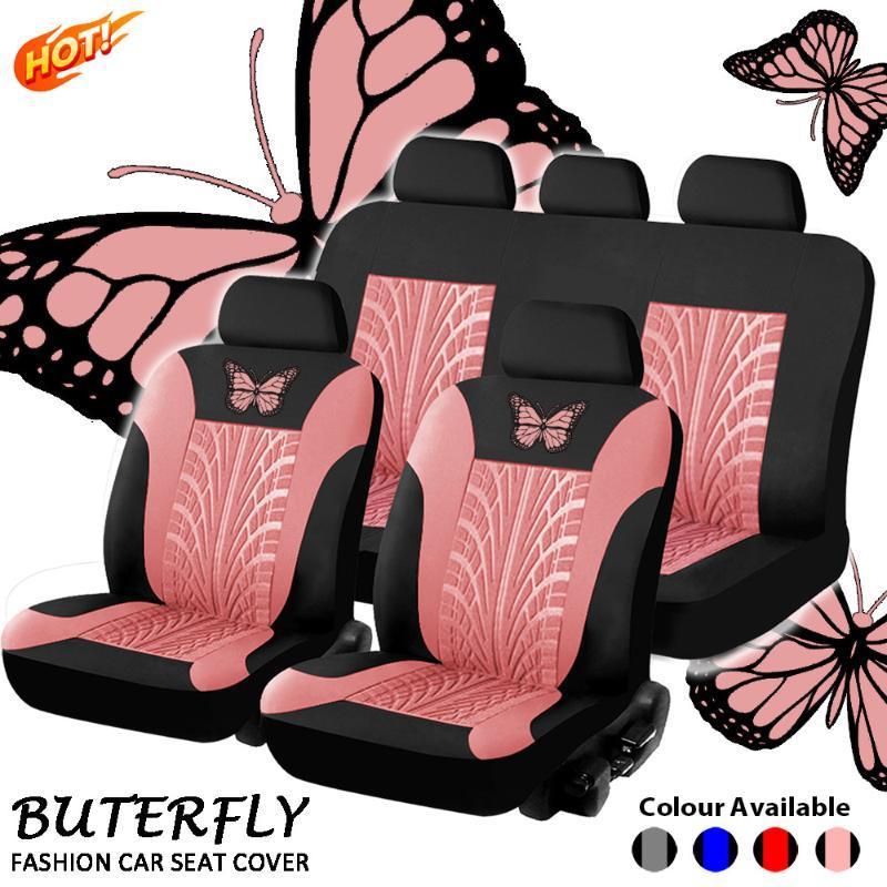 Autositzabdeckungen Schmetterling Universal Full Set Auto Inneneinrichtungen Automobilschutz Fashion Cover