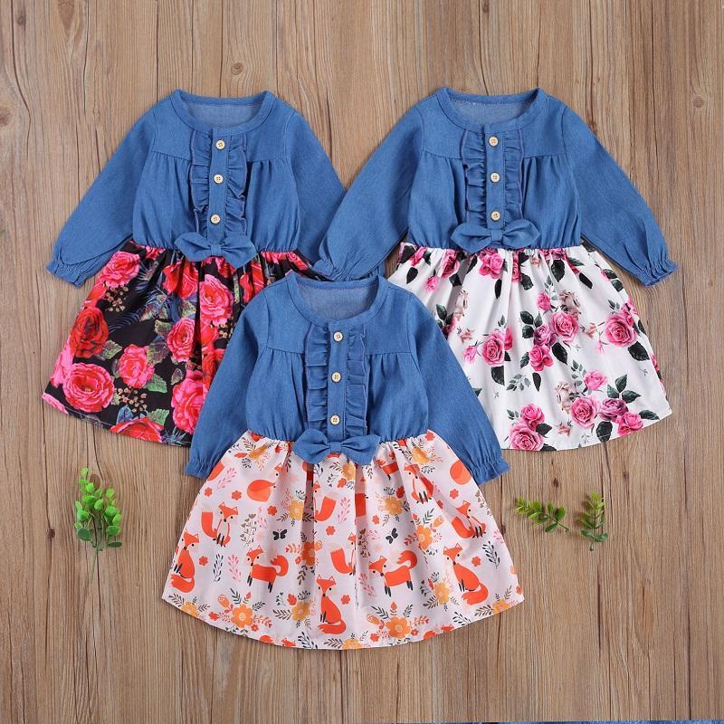 6M-4Y младенческие дети дети девочка с длинным рукавом лоскутное джинсовое платье цветочные a-line принцесса девушки праздник платья одежды