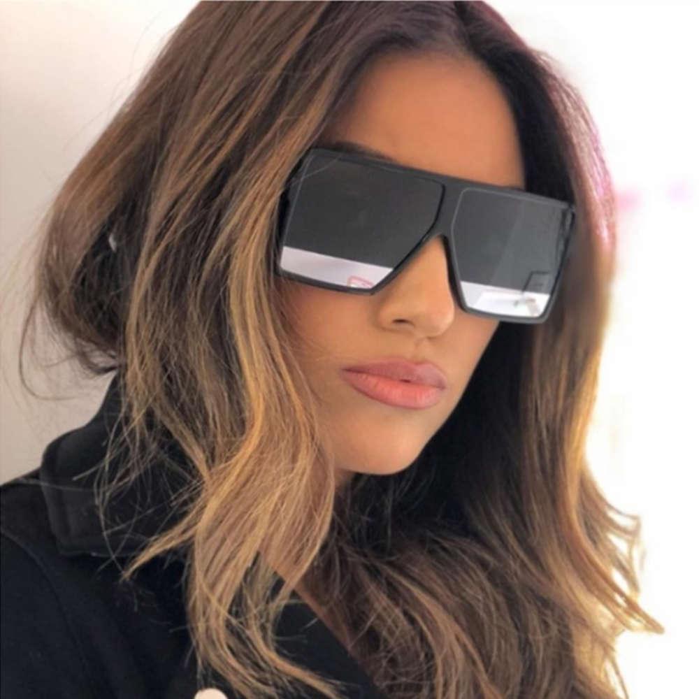 Gradienten schwarz übergroß flach top für 2019 große quadratische frauen sonnenbrille mode marke shades brillen unisex