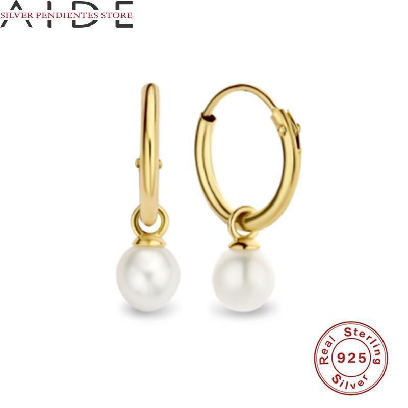 Hoop Huggie Aide Ins Мода Все-матч жемчужный кулон Серьги для женщин 925 Стерлинговые серебряные серебряные обручения серьги корейских ювелирных изделий aretes de mujer
