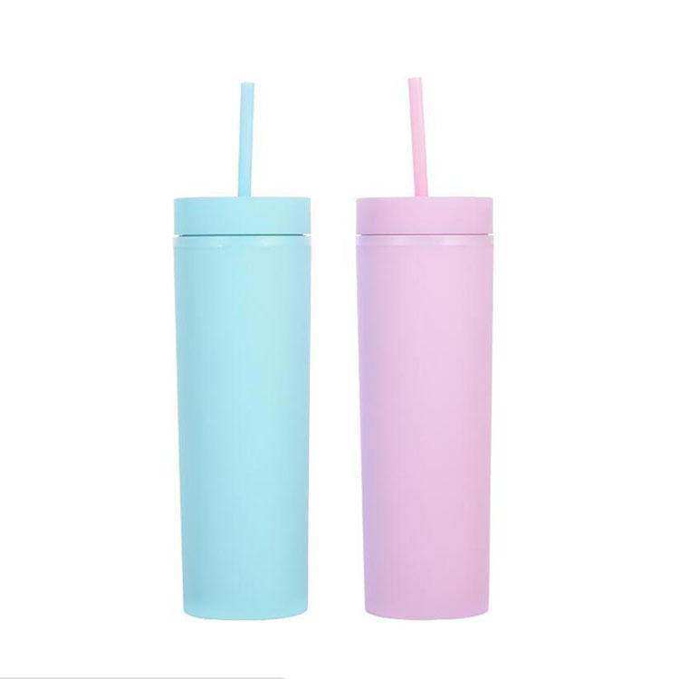 Stokta 16oz Akrilik Sıska Tumblers Mat Renkler Çift Duvar Su Şişesi Kahve İçme Plastik Tumbler Sippy Kupası Ücretsiz Straws