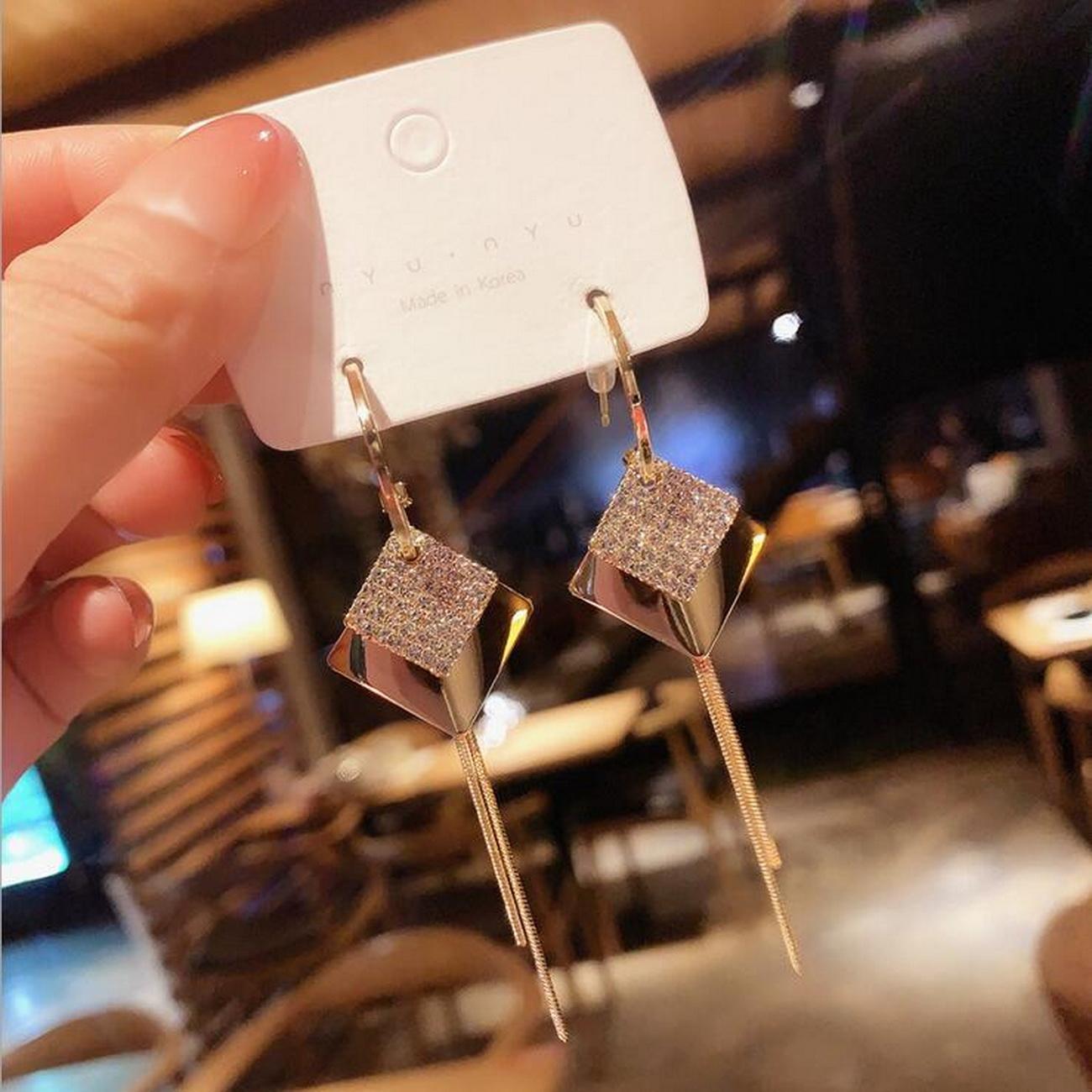 Women's Earrings 925 silver needle C ring dia~mond double layer diamond tassel earrings fashion