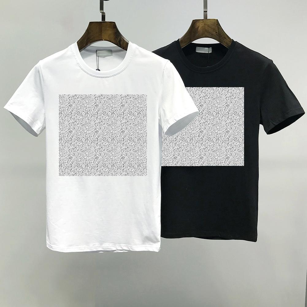 2021 Summer Mens T Shirt Fashion Semplice puro cotone puro Coppie in bianco e nero Abbigliamento Casual Lettera di alta qualità Ricamo M-2XL