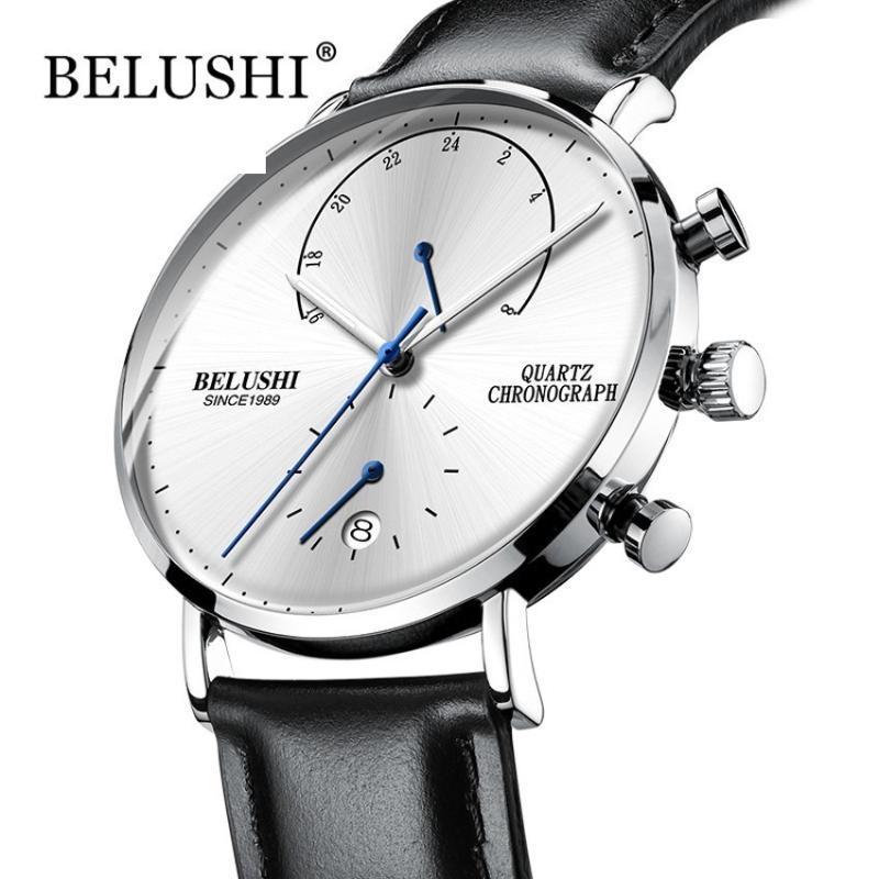Armbanduhren Belushi Quarzuhr 24-Stunden-Anzeige Sport Chronograph Männer Leuchtende Hände Edelstahl Mesh Strap Marke
