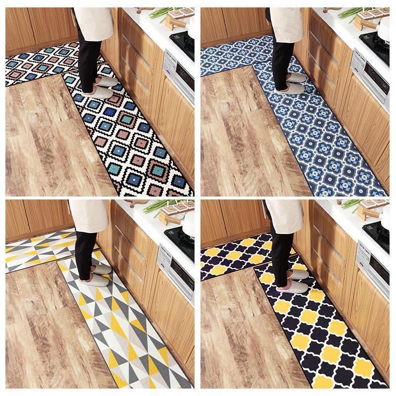 Tapetes desgaste e resistência de rasgos Long Kitchen esteira geométrica nylon banho casa de banho casa de banho tapete de porta antiderrapante decoração home