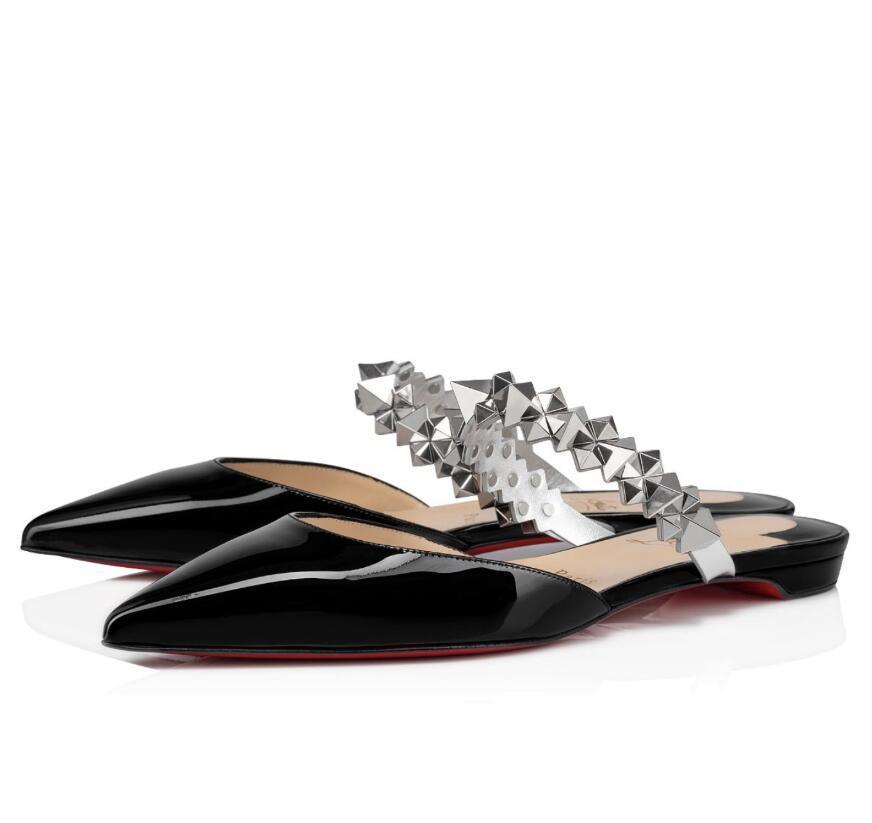 여름 아가씨 빨간색 하단 행성 Choc Slipper Flats 여성 컴포트 매일 워킹 워킹 레드 솔 포인트 발가락 브랜드 야외 해변 슬라이드 신발