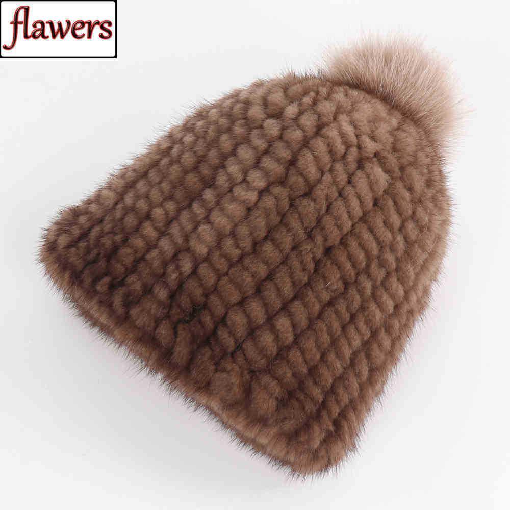 Neue dame winter bomber hut natürliche gestrickte warme kappe mit pompons frauen 100% echte nerz pelz hüte