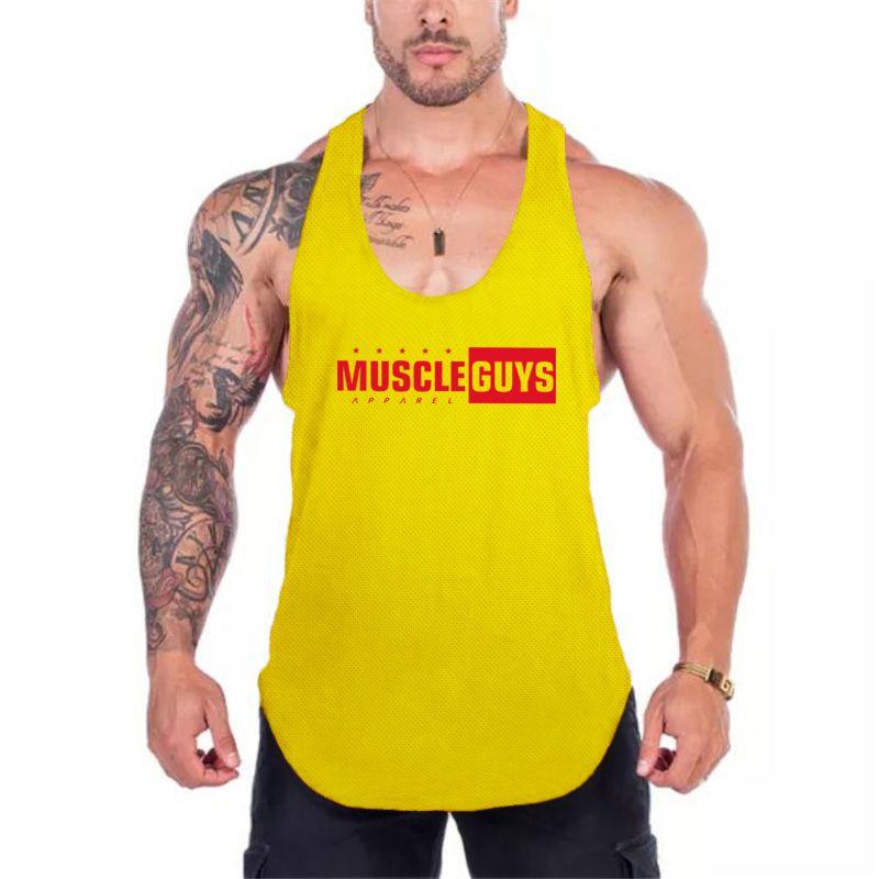 Muscleguys 브랜드 의류 여름 메쉬 빠른 건조 보디 빌딩 스트링거 탱크 탑 남자 피트니스 민소매 체육관 undershirt