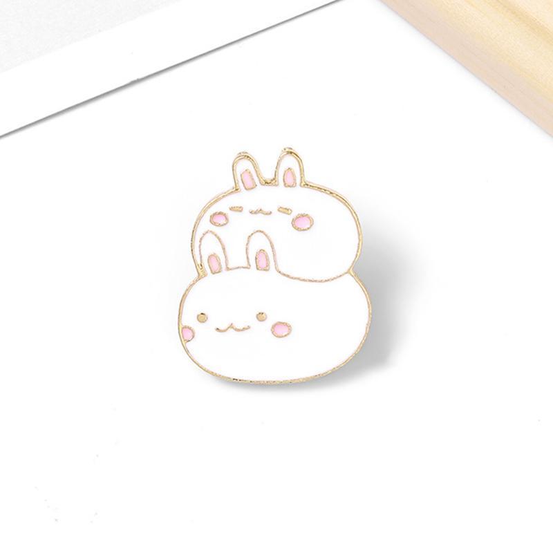 Pins, Brooches Fat Enamel Pins Custom Cute Stacked Rabbits Brooch Lapel Pin Shirt Bag Badge Cartoon Animal Jewelry