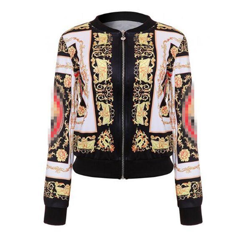 가을 여성 폭격 재킷 여성을위한 복고풍 야구 코트 데님 캐주얼 인쇄 feminina 기본 겉옷 골드 체인 인쇄 옷