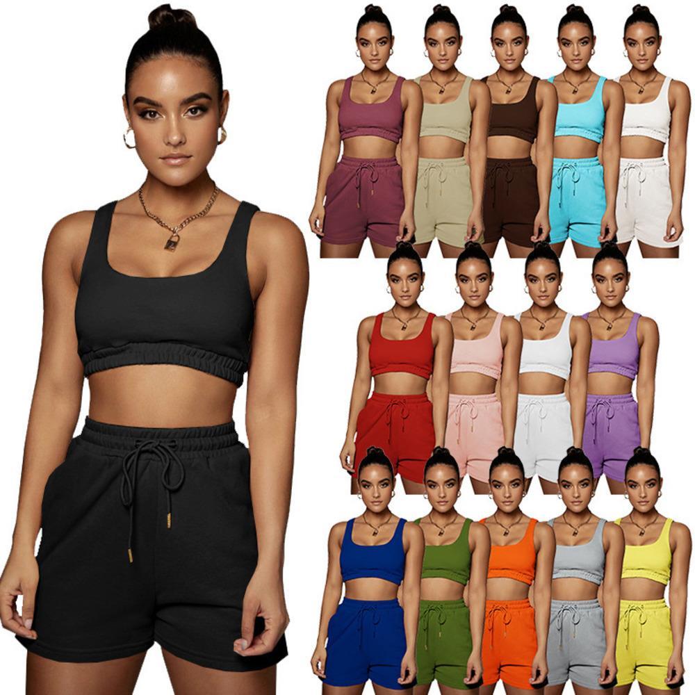 Women Shorts 2 Piece Set Sexy Slim Designer Solid Color Tracksuits Vest Shorts Suit Sleeveless Sportswear Slim Shirt Short Pants 712