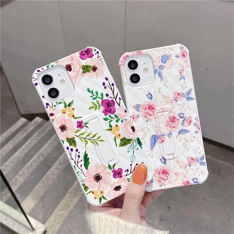 Case invisible Stand Stand Stand Case de téléphone pour iPhone 12 11 PRO XS MAX 12mini SE XR 8 7 Plus Couvercle de silicone doux floral simple