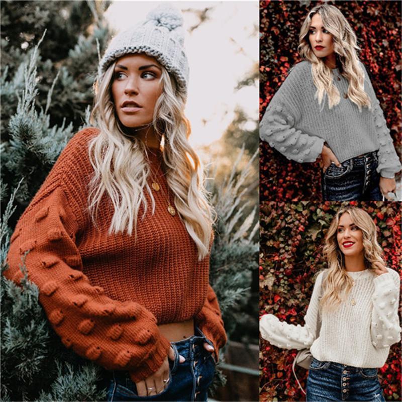 Зимняя осень женская толстовка мода слоеная рукава твердого цвета свободно вязаные топы повседневные женские дизайнеры одежда