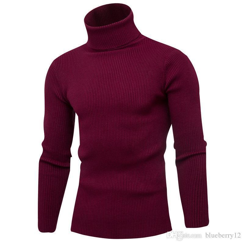 Свитера классические мужские повседневные свитера с 7 цветами ребристых черепах шеи пуловеры с длинным рукавом сплошной свитер для осени и зимы M-3XL