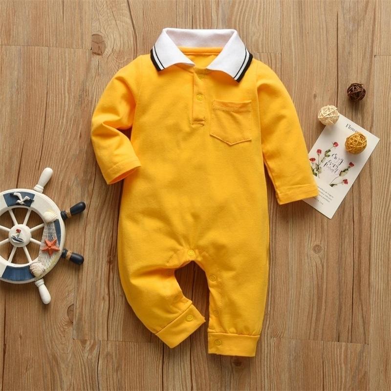 Новорожденный мальчик Rompers сплошной цвет джентльмен стиль с длинным рукавом комбинезон хлопка младенческая одежда осенью малыш детская одежда 210309