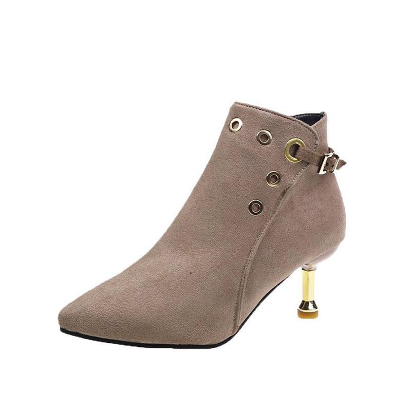 Boots Women Heel Autumn Zip Pionted Toe Metal Decoration Thin Ladies Suede Ankle Waterproof Women's Shoes Female Leather