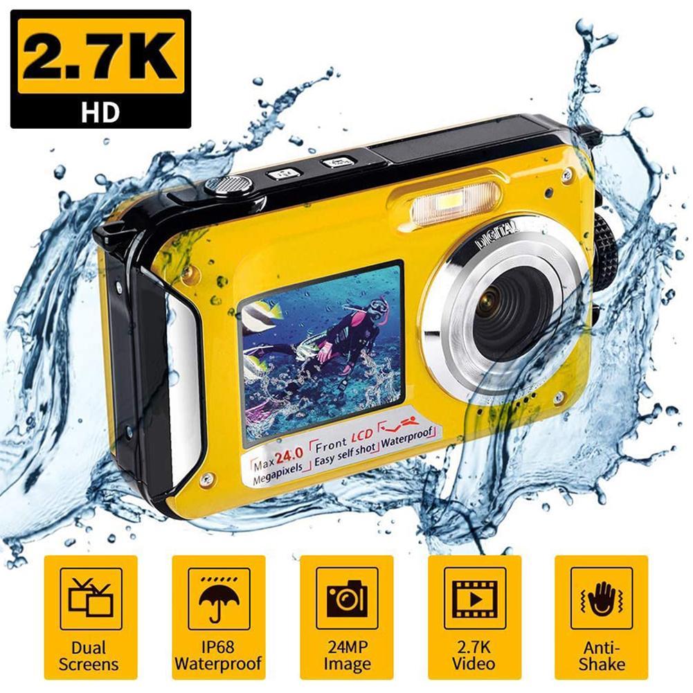 Waterproof Anti-Shake Digital Camera 1080P Full HD 2.4MP Dual Screen Selfie Video Recorder for Swimming Underwater DV Recording