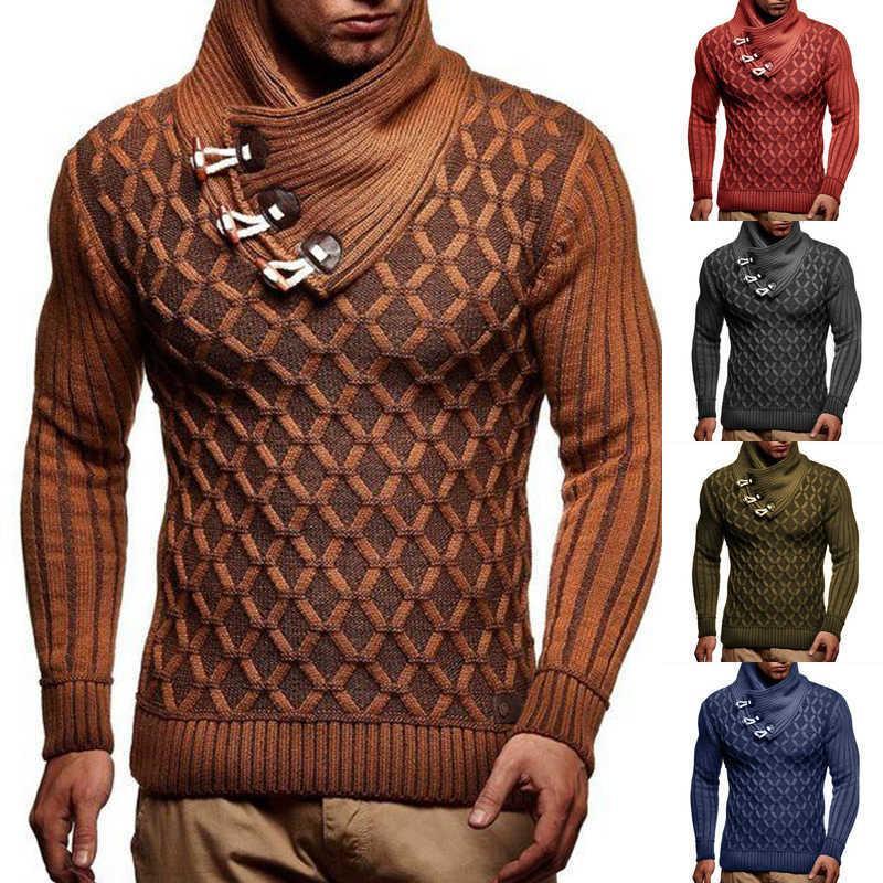 Turtleeneck свитер мужчины осень зима пуловер тепло толстый шарф воротник с длинным рукавом свитер твист вязаные мужчины трикотаж