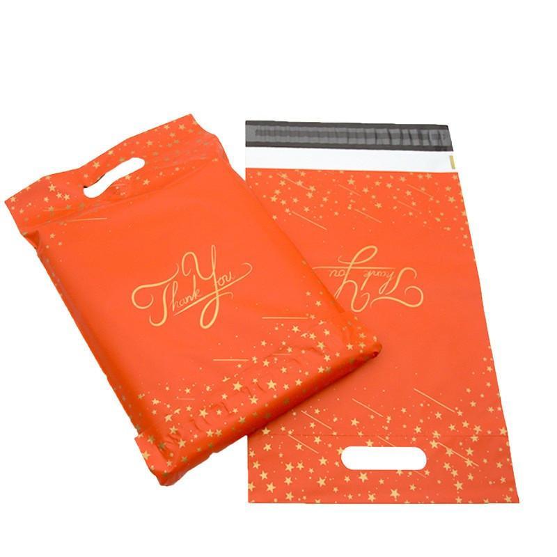 حزمة حزمة الطرود الملونة شكرا لك طباعة كيس بولي البريد السريع مع مقبض البلاستيك الشحن الذاتي لاصق صريحة الحقيبة GGA4240