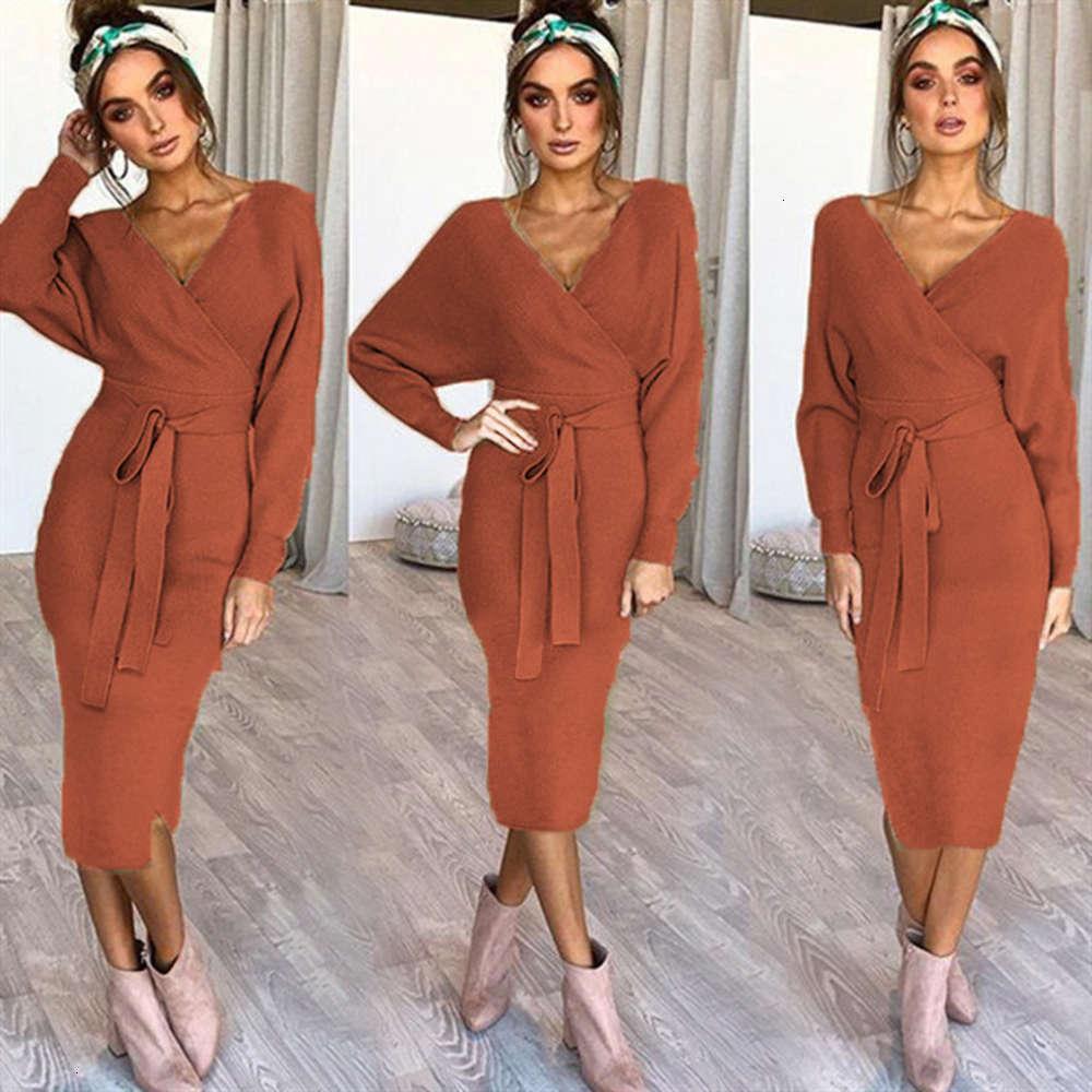 Платья темперамент для 5-цветного рукава Сексуальное длинное V-образное вырезовое платье кружева осенью зима горячая