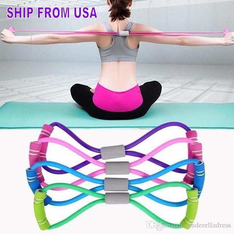 US STOCK STOCK 8 Forme de Yoga en forme de Yoga Gel Fitness Résistance à 8 mots Coffre Caoutchouc Fitness Corde Exercice Muscle Bande Dilatateur d'exercice élastique