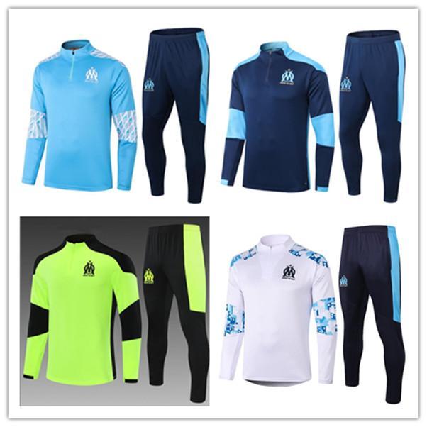 Erkekler + Çocuklar Olimpik De Marsilya Futbol Eşofman Futbol Eğitimi Suits 2021 2022 Ceket Survetement Ayak Chandal Futbol Tasarımcılar Tuta