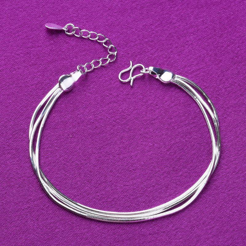 S925 silver Korean simple double snake bone Bracelet