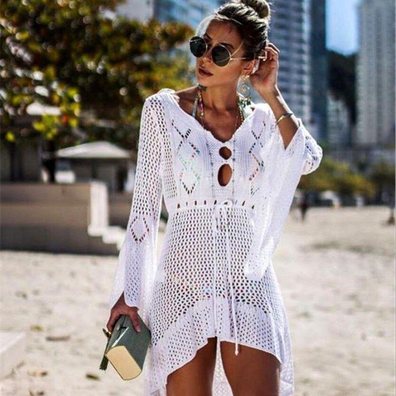 New Beach Cover Up Crochet per le donne a maglia nappa cravatta Beachwear estate moda costume da bagno coperta Up Sexy See-through abito da spiaggia