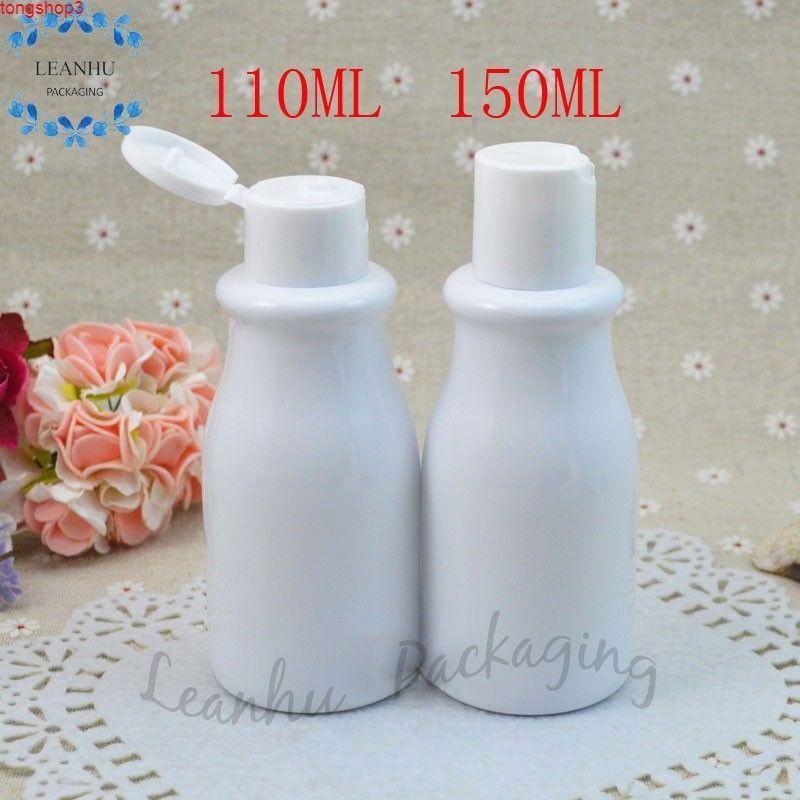 110ml / 150ml Weiß Protable Reise Plastikflasche mit Flip-Top-Kappe, nachfüllbare Shampoo-Lotion-Creme-Verpackung Makeup-Flaschen