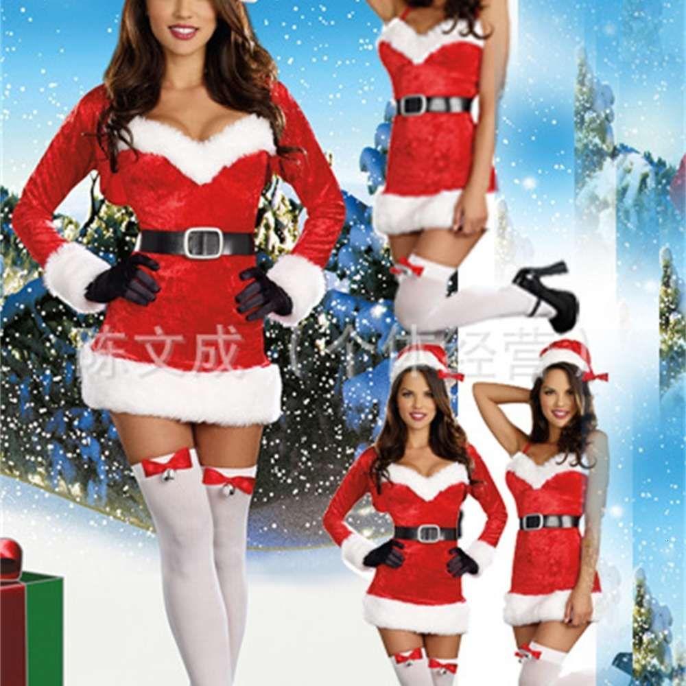 Индольное Розовое белье сексуальное Рождественское платье Подвеска из трех частей Рождественское платье