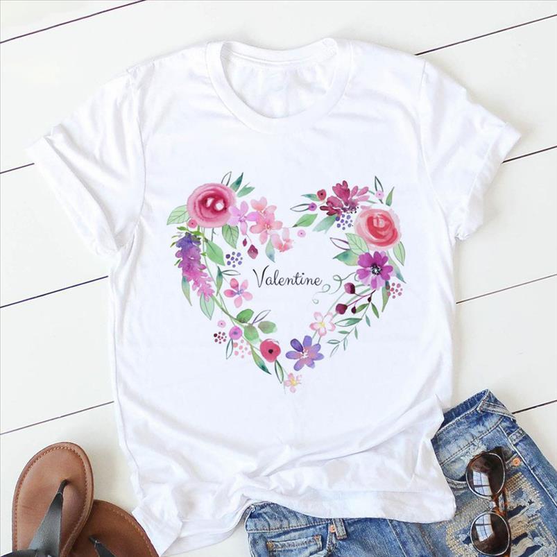 Heart Womens Summer Pink Flower Print Basic O Neck T shirt Girl Ladies Streetwear Harajuku Kawaii Graphic Tees