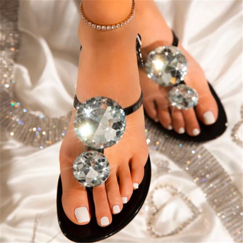 Lager Размер Женщины Сандалии Большой Алмаз Сияющий взрыв Женский Хрустальные Тапочки Лето Желе Обувь Квартира с модной пляжной Обувь