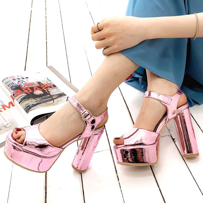 2021 круглые высокие каблуки ремешок на лодыжку сексуальная мода платформа элегантный офис леди вечеринка женщина обуви сандалии плюс размер 42