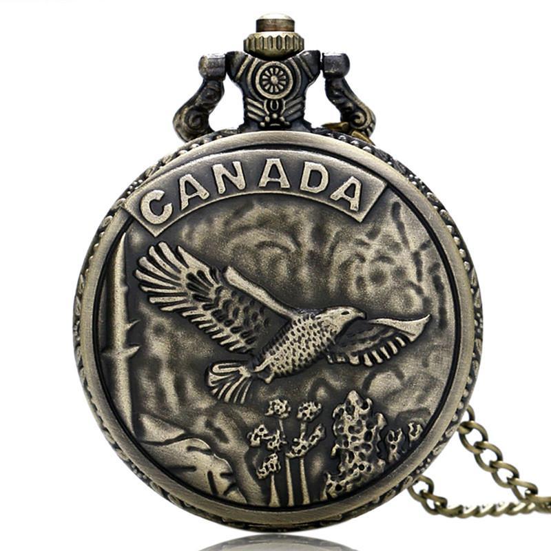 Rétro Bronze Canada Eagle Case Design Cool Quartz Pocket Watch FOB Watchs avec Chaîne de collier pour hommes garçons