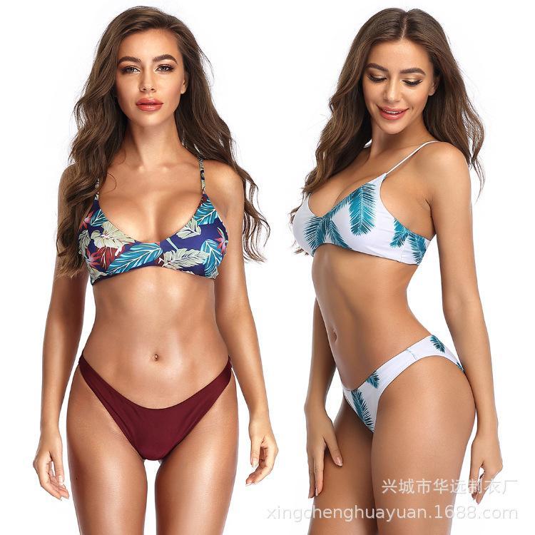 Mulheres impressas Split Swimsuit Sexy Bikini Suit