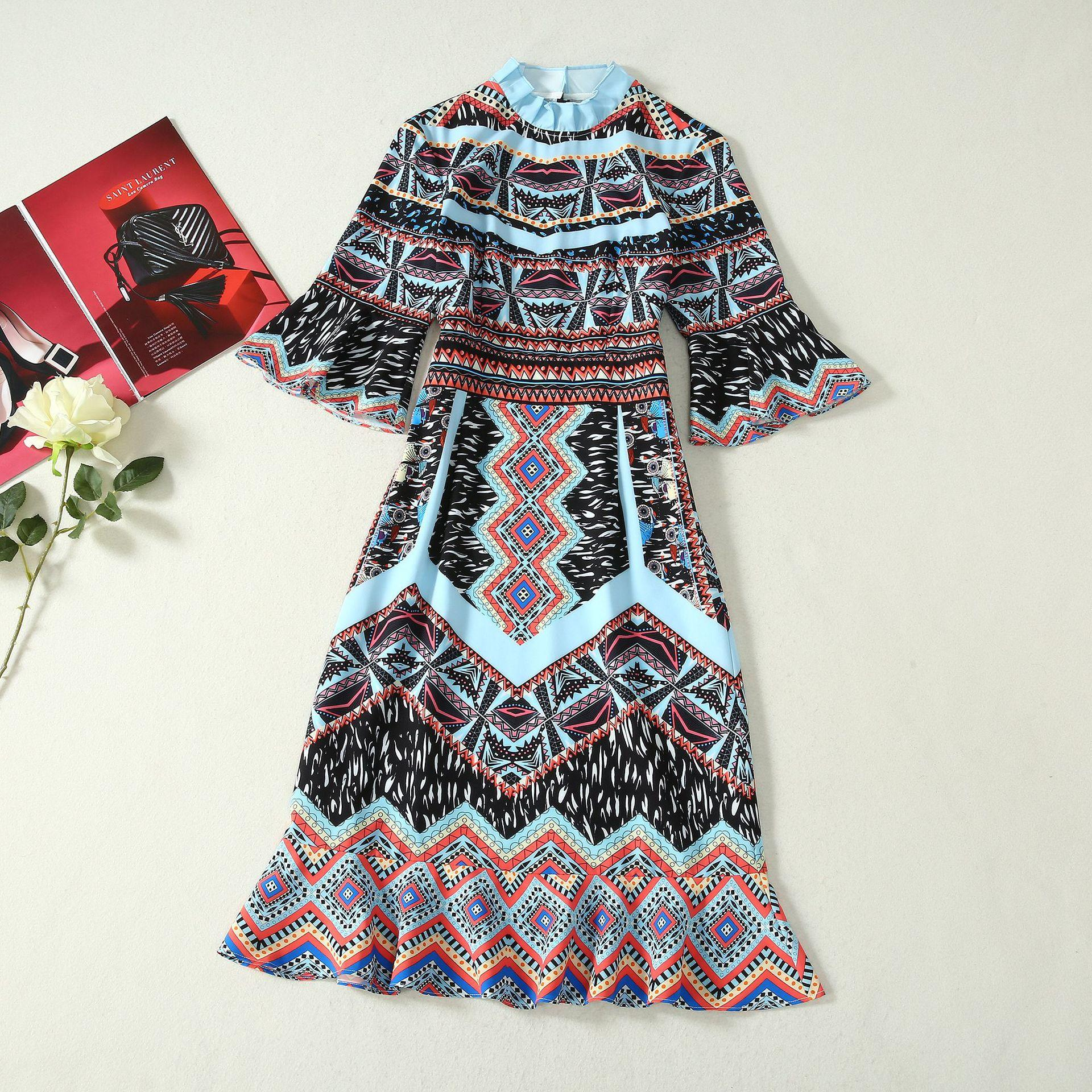 801 2020 Free Shipping Summer A Line Short Sleeve Dress Prom Fashion Crew Neck Flora Print Mid Calf Brand Same Style As