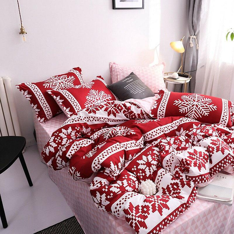 Bedding Sets Christmas Snowflake Pillow Cover Bed Sheet Set Home Decoration For Bedroom Promotion